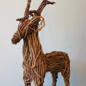 Large wicker reindeer.