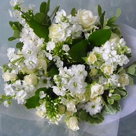 Aqua packed gift bouquet in white and cream (to include roses).