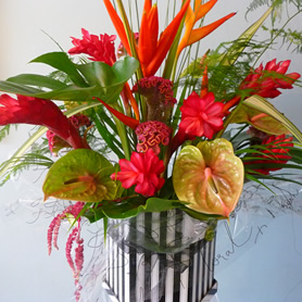 Large contemporary hat box of tropical flowers.