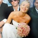 Wedding bouquet of beautiful Cezanne roses