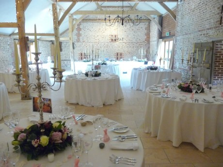 Table centres at Upwalthams Barn