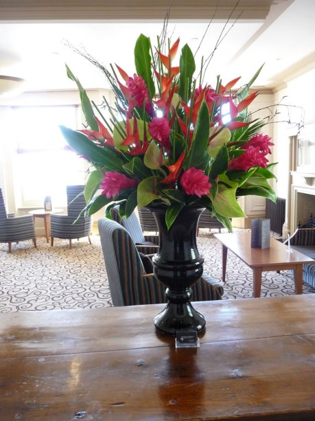 Giant black contemporary urn pictured at the Old Ship Hotel