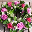 Wreath of pink roses and green orchids (ref. 20)