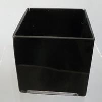 Black cube vase - 15cm