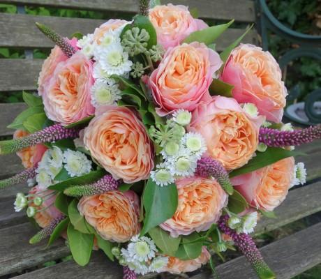 Wedding bouquet of 'Vuvuzela' roses.