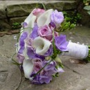 Bridal posy of white calla lilies & freesia