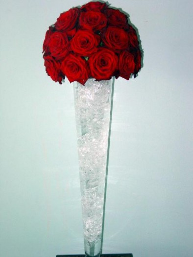 Dome of red roses on crushed ice
