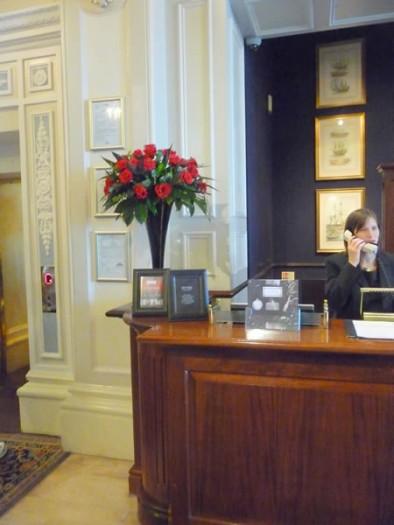 Grand hotel's reception desk