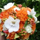 Wedding bouquet of orange roses