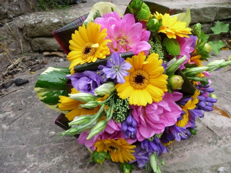 Wedding bouquet of dahlias and agapanthus