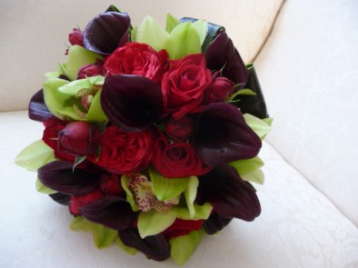 Bridal bouquet of black calla lilies