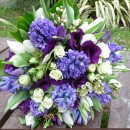 Blue spring hand tied bouquet.