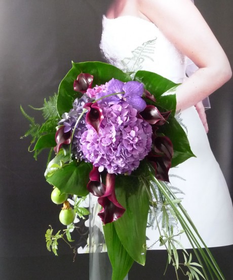 Purple trailing wedding bouquet