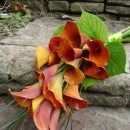 Mango Calla Lily over-arm bridal bouquet