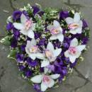 Heart of purple eustoma and white cymbidium orchids (ref. 14)