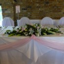Traditional top table long & low arrangement