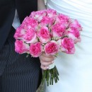 Bright pink rose bridal bouquet