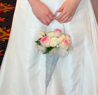 Silver cornucopia with 'Dolce Vita' roses