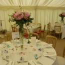 Tall Trumpet vases at the Great Ote Hall marquee, Sussex