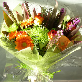 Autumnal bouquet of best seasonal flowers (to include roses).