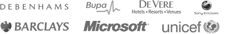 Debenhams, Bupa, De Vere, Sony Ericsson, Barclays, Microsoft, Unicef.
