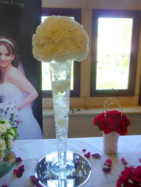Flute vase of carnations