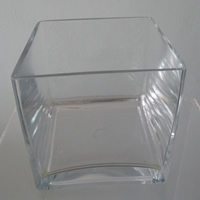 Glass cube vase - 15cm