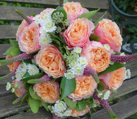 Wedding bouquet of 'Vuvuzela' roses.