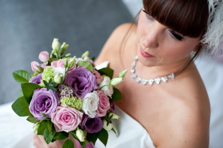 Lilac  and pale pink wedding bouquet