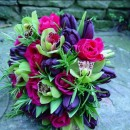 Black tulips & cerise pink roses