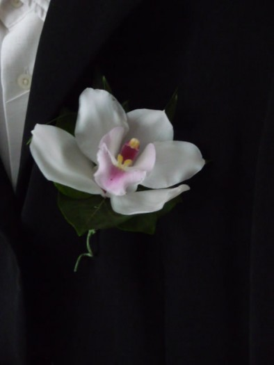 White cymbidium orchid buttonhole with a curly tail.