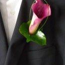 Pink calla lily buttonhole.