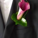 Pink calla lily buttonhole.