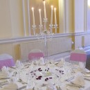 Stunning 90cm tall crystal candelabra decked with crystal garlands