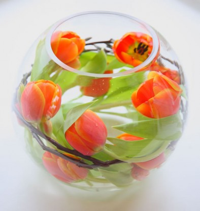 Fish bowl table centres