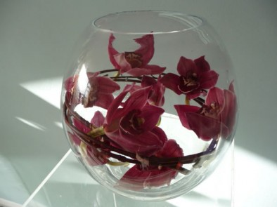 Large gold fish bowl of burgundy cymbidium orchids and willow.