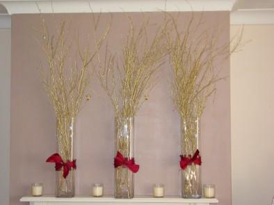 Gold birch in vases
