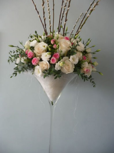 Our giant martini vases of scented seasonal flowers.