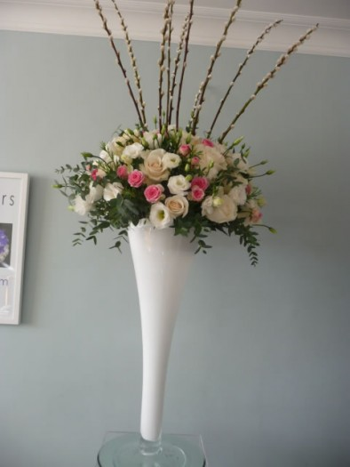Large vase of seasonal flowers