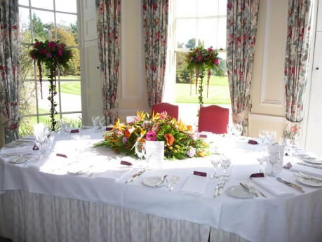 Top table set-up at Newick Park Hotel, Sussex