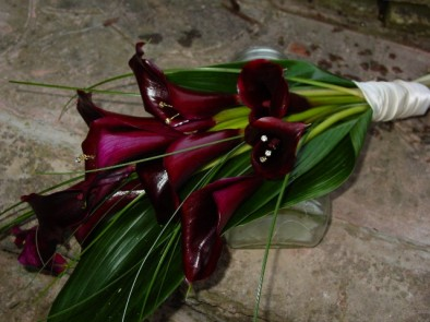 Over-arm bouquet of black callas