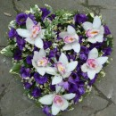 Heart of purple eustoma and white cymbidium orchids (ref. 14)