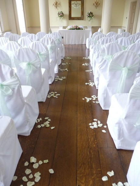 Rose petal aisle at Stanmer House
